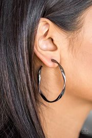 Paparazzi Plot Twist Black Hoop Earrings - Glitzygals5dollarbling Paparazzi Boutique