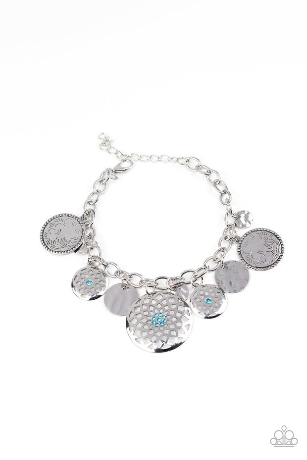 Paparazzi Trinket Tranquility - Blue - Rhinestones - Mandala Silver Charms - Thick Chain Bracelet