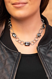 Paparazzi Urban District Silver Hematite Necklace Fashion Fix Exclusive - Glitzygals5dollarbling Paparazzi Boutique