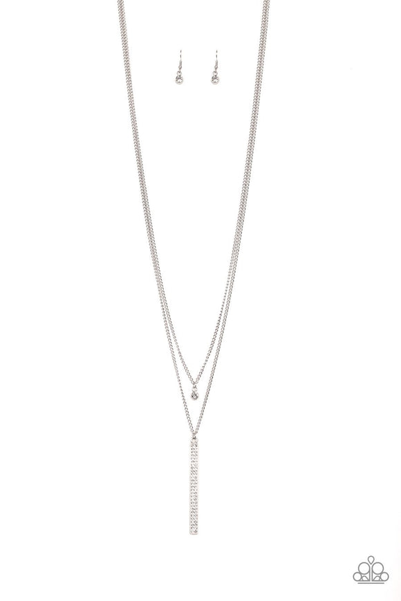 Paparazzi Stratospheric - White Rhinestones - Silver Chain Necklace and matching Earrings