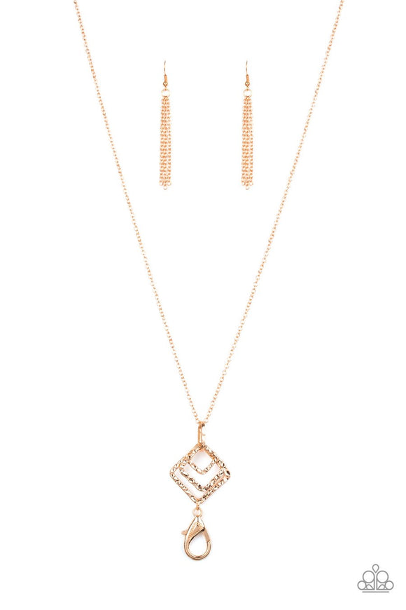 Paparazzi Square It Up - Gold - LANYARD - Hammered Necklace and matching Earrings