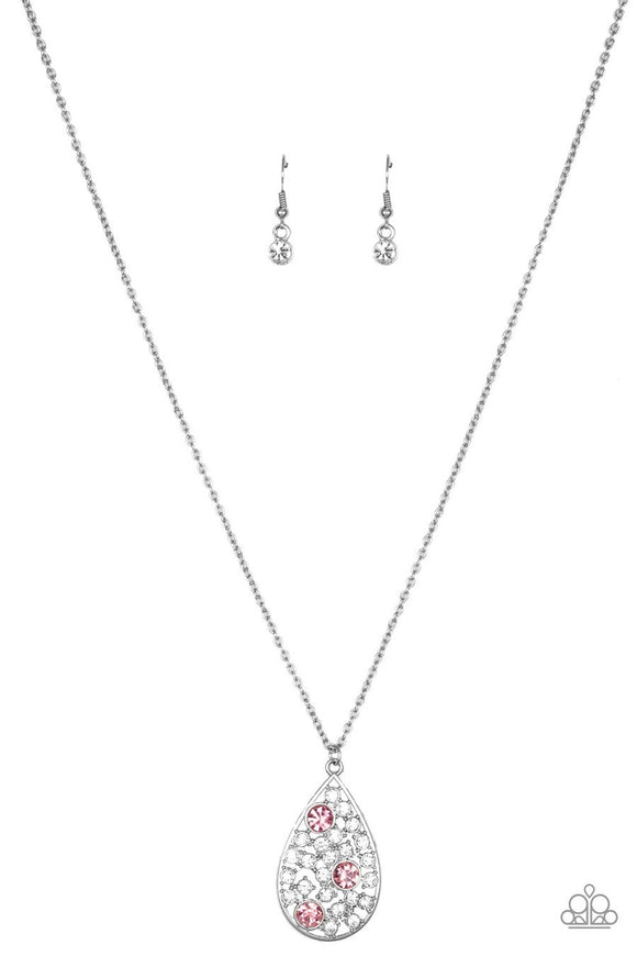 Paparazzi Sparkle All The Way - Pink Rhinestones - Silver Teardrop Necklace and matching Earrings