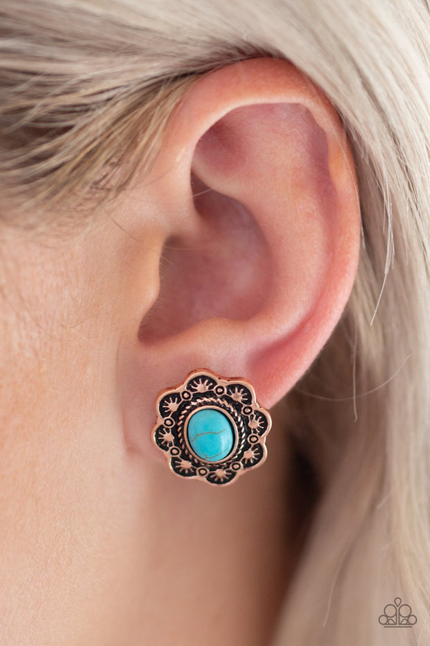 Paparazzi Springtime Deserts - Copper - Blue Turquoise Stone - Post Earrings - Glitzygals5dollarbling Paparazzi Boutique