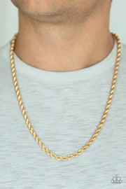 Paparazzi Double Dribble - Gold - Thick Rope Chain Necklace - Men's Collection - Glitzygals5dollarbling Paparazzi Boutique