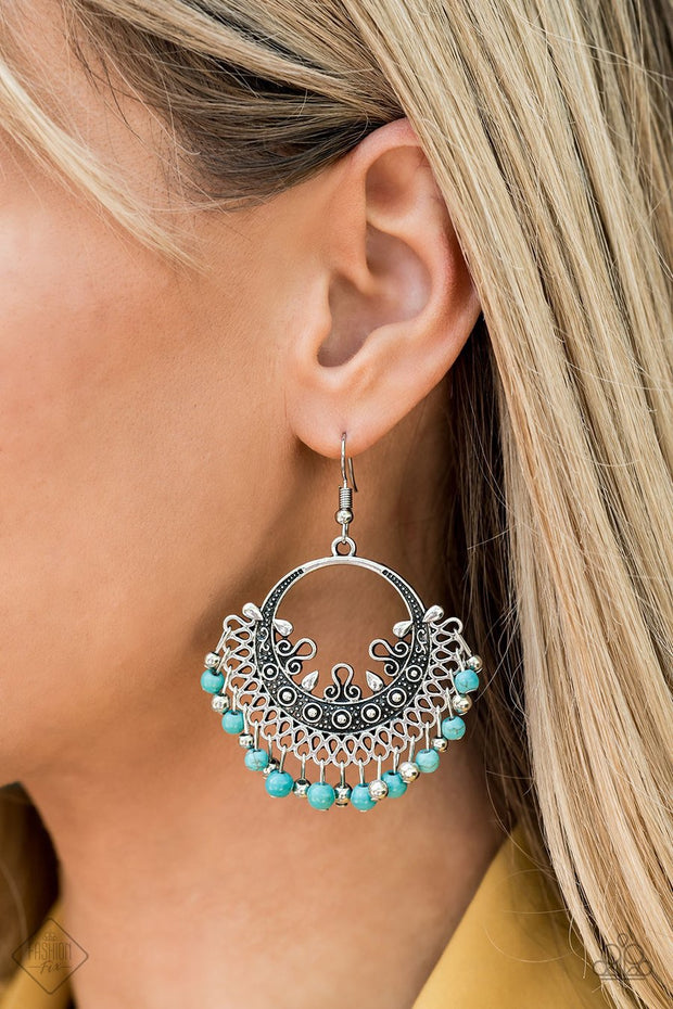 Paparazzi Canyonlands Celebration - Blue Turquoise Stone - Earrings - Fashion Fix Exclusive October 2019 - Glitzygals5dollarbling Paparazzi Boutique