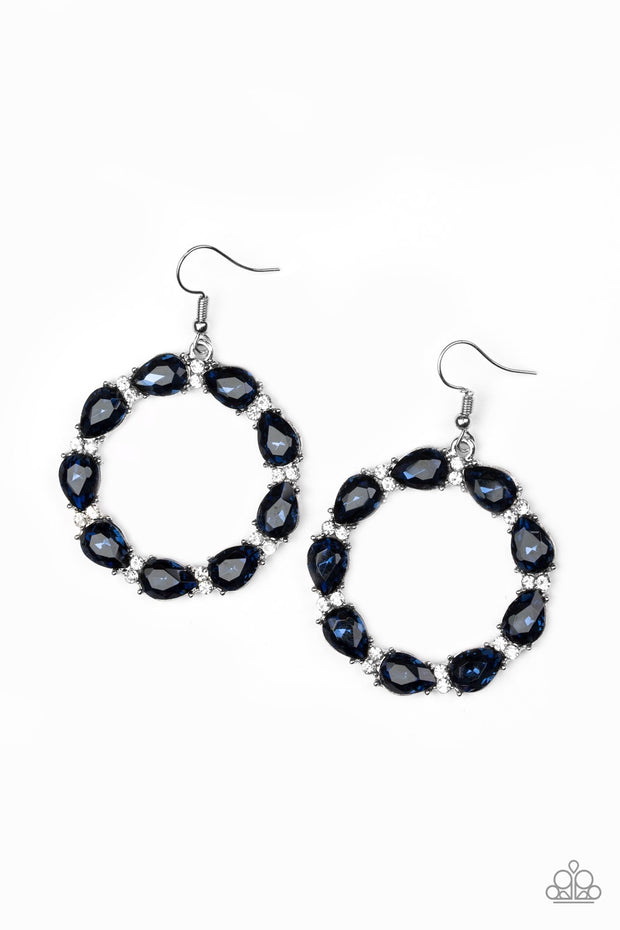Ring Around the Rhinestones Blue Earrings - Glitzygals5dollarbling Paparazzi Boutique