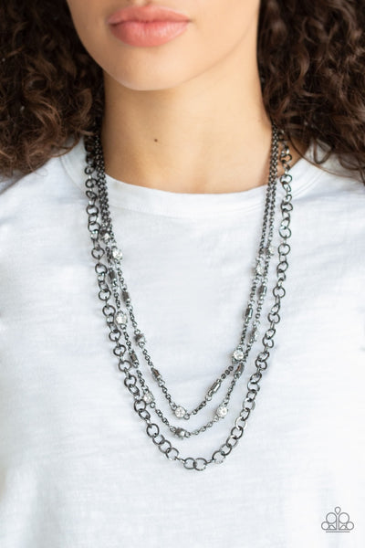 Paparazzi Metro Mixer - Black Gunmetal Rhinestone Necklace - Glitzygals5dollarbling Paparazzi Boutique