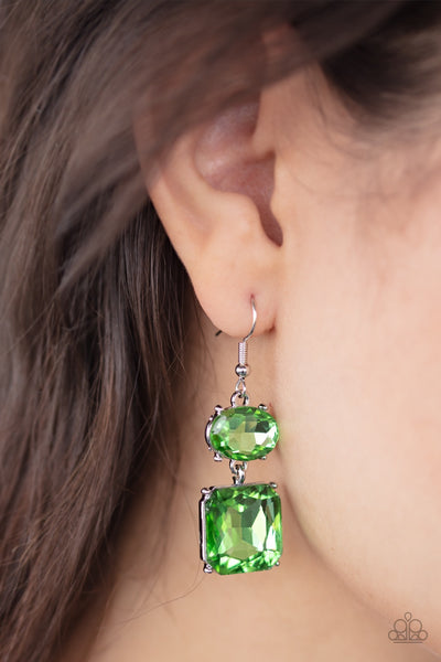 PREORDER Paparazzi All ICE on Me Green Earrings - Glitzygals5dollarbling Paparazzi Boutique