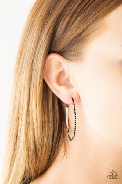 Paparazzi Chic Classic - Black Hoop Earrings - Glitzygals5dollarbling Paparazzi Boutique
