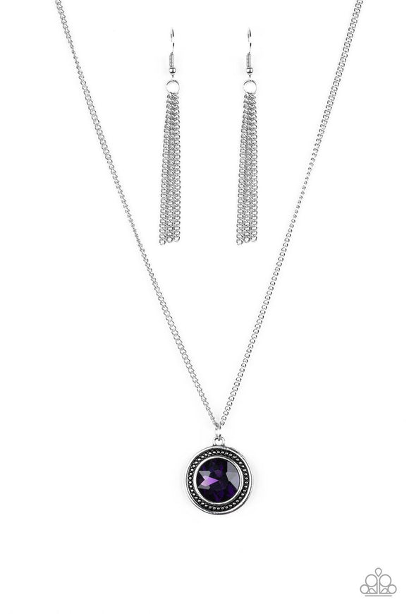 Paparazzi Mega Money - Purple Gem - Silver Necklace and matching Earrings