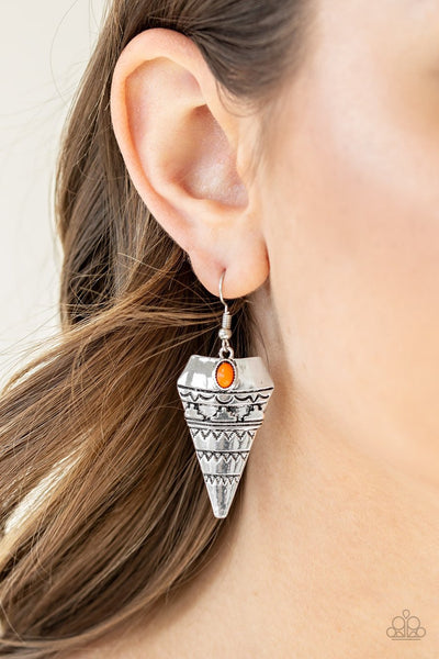 Paparazzi Jurassic Journey - Orange Bead - Antiqued Triangular Embossed - Earrings
