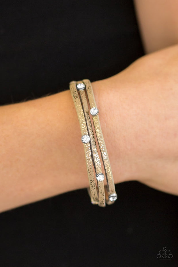 Paparazzi Drop A Shine Brown Urban Bracelet - Glitzygals5dollarbling Paparazzi Boutique