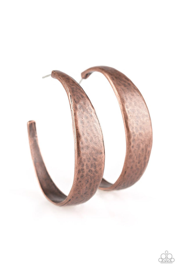 Paparazzi HOOP and Holler - Copper - Hammered Shimmery Textures - Thick Hoop Earrings - Glitzygals5dollarbling Paparazzi Boutique