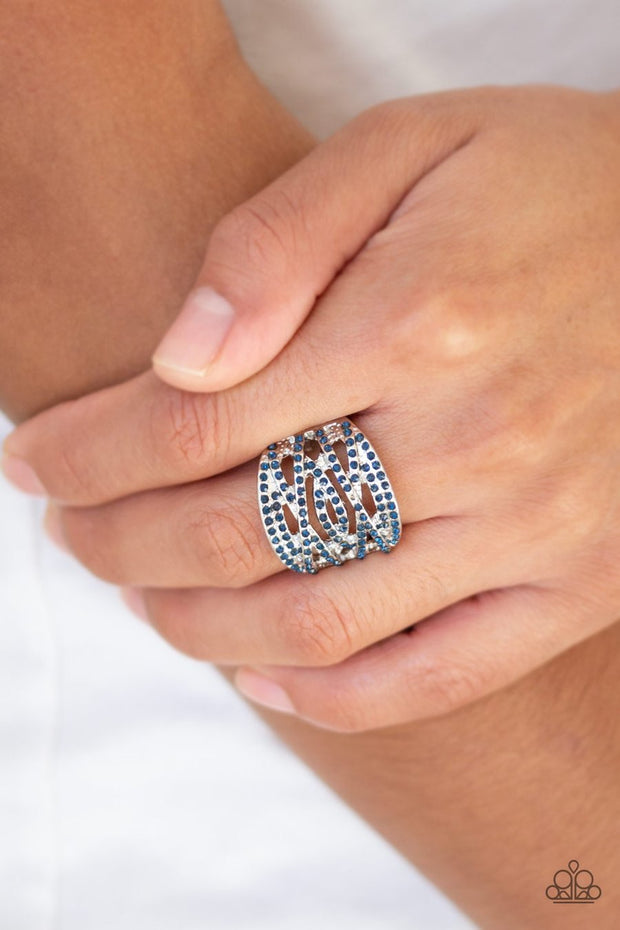 Paparazzi The Money Maker - Blue Rhinestones - Silver Ring - Glitzygals5dollarbling Paparazzi Boutique