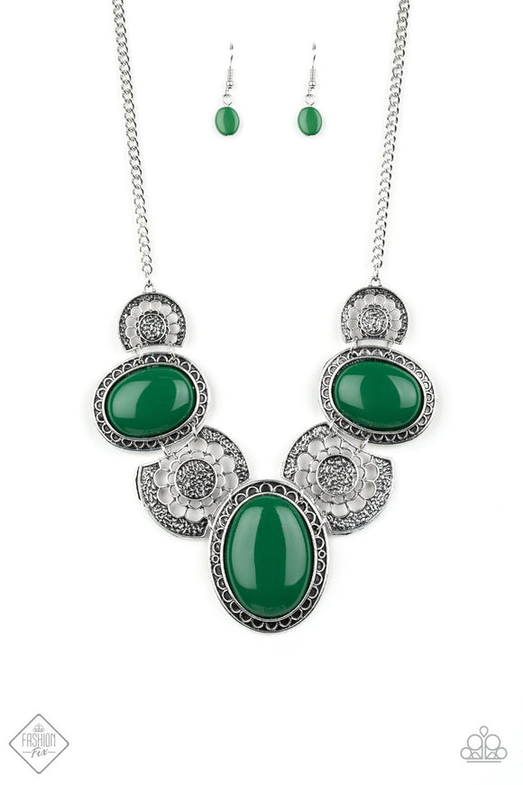 Paparazzi The Medallion-aire Green Beads - Silver Medallion Statement Necklace - Fashion Fix Exclusive September 2019