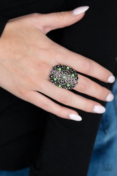 Floral Fancies - green - Paparazzi ring - Glitzygals5dollarbling Paparazzi Boutique