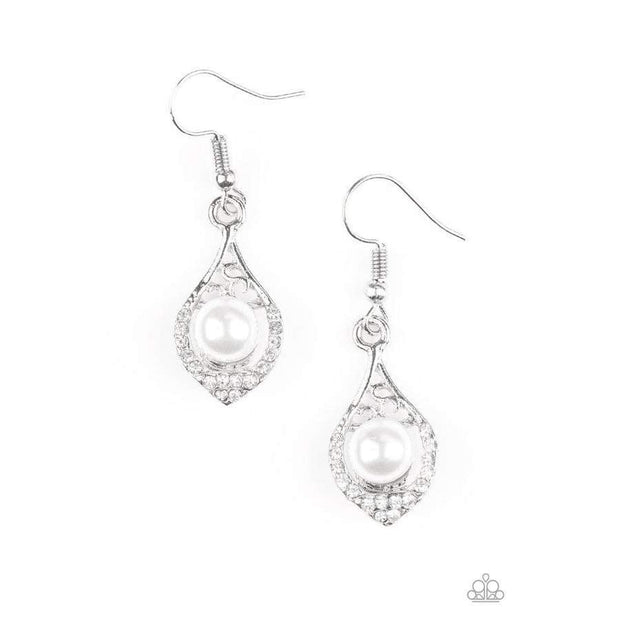 Westminster Waltz White Earrings - Glitzygals5dollarbling Paparazzi Boutique