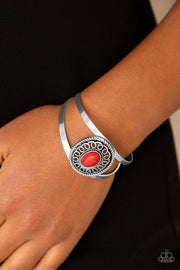 Paparazzi Deep In The TUMBLEWEEDS - Red Stone - Silver Cuff Bracelet