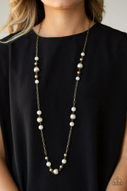 Paparazzi Wall Street Waltz Brass Pearl Necklace - Glitzygals5dollarbling Paparazzi Boutique