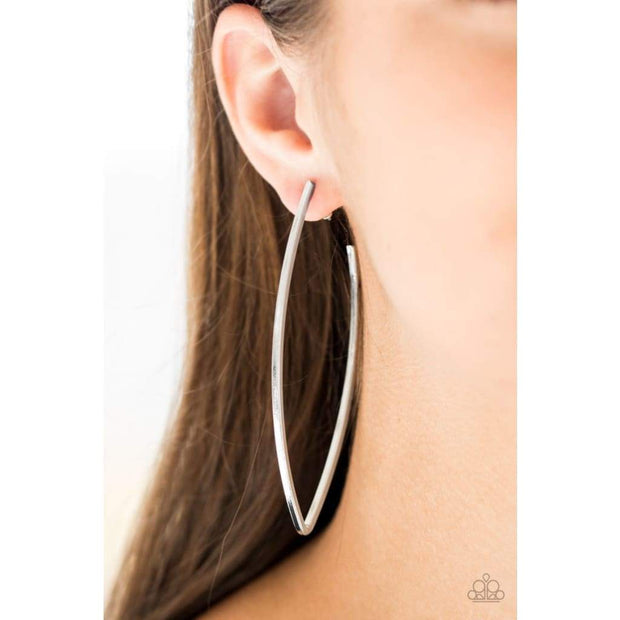 Paparazzi Nothing But Trouble Silver Hoop Earrings - Glitzygals5dollarbling Paparazzi Boutique