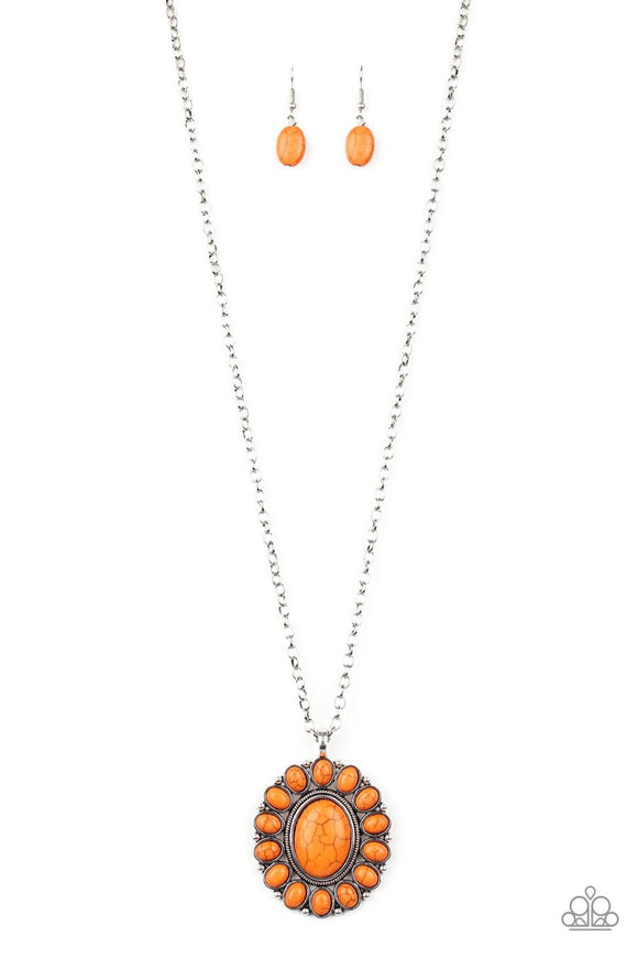 Paparazzi Rancho Roamer - Orange Stones - Silver Necklace and matching Earrings