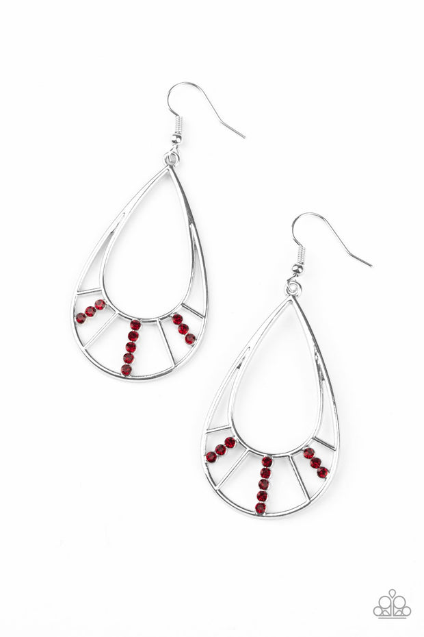 Paparazzi Line Crossing Sparkle Red Earrings