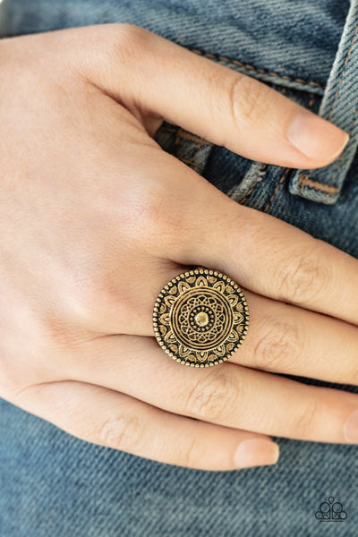 Paparazzi One in a MEDALLION - Brass - Antiqued Frame - Ring