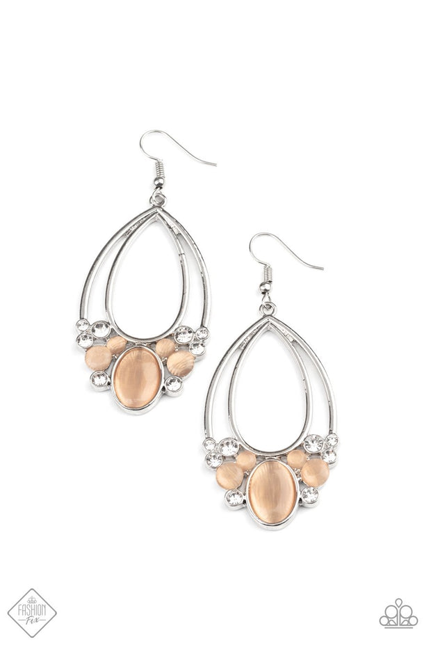 Look Into My Crystal Ball - orange - Paparazzi earrings