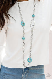 Paparazzi Artisan Artifact - Blue Turquoise Stone - Large Silver Links Necklace - Fashion Fix Exclusive September 2019