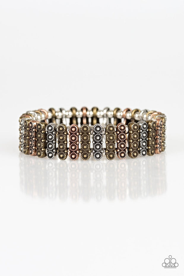 Paparazzi Rise With The Sun - Multi - Silver, Brass, Copper Frames - Stretchy Band Bracelet - Glitzygals5dollarbling Paparazzi Boutique