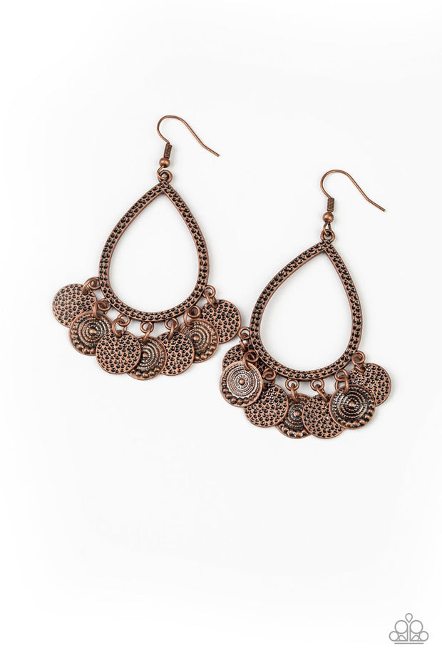 Paparazzi All In Good CHIME - Copper - Hammered Discs - Teardrop Earrings