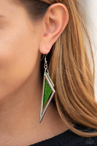 Paparazzi Evolutionary Edge Green Fashion Fix Exclusive Earrings - Glitzygals5dollarbling Paparazzi Boutique