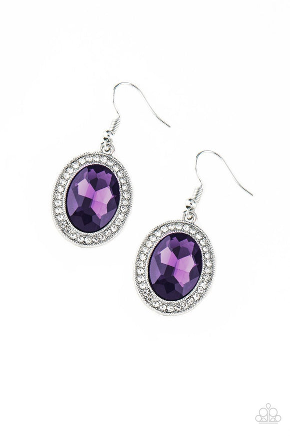Paparazzi Only FAME In Town - Purple Gem - White Rhinestones - Earrings