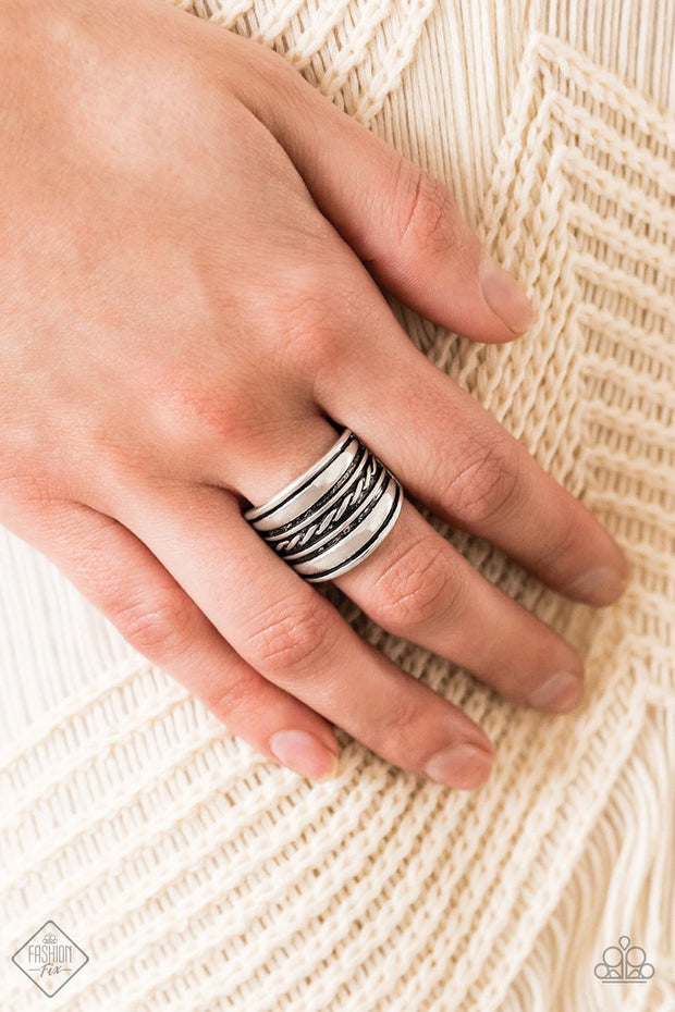 Paparazzi Let it LAYER - Silver - Ring - Trend Blend / Fashion Fix Exclusive June 2020 - Glitzygals5dollarbling Paparazzi Boutique