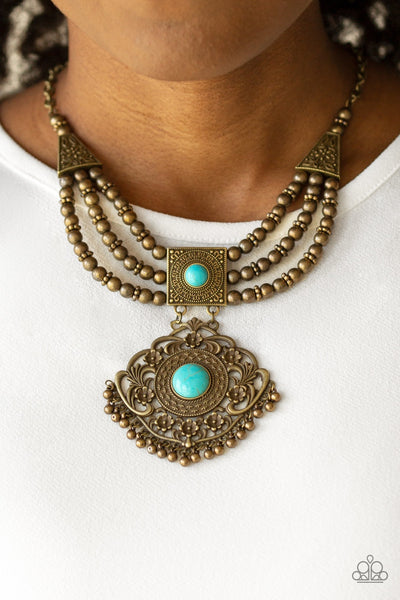 Paparazzi Santa Fe Solstice - Brass Necklace - Glitzygals5dollarbling Paparazzi Boutique
