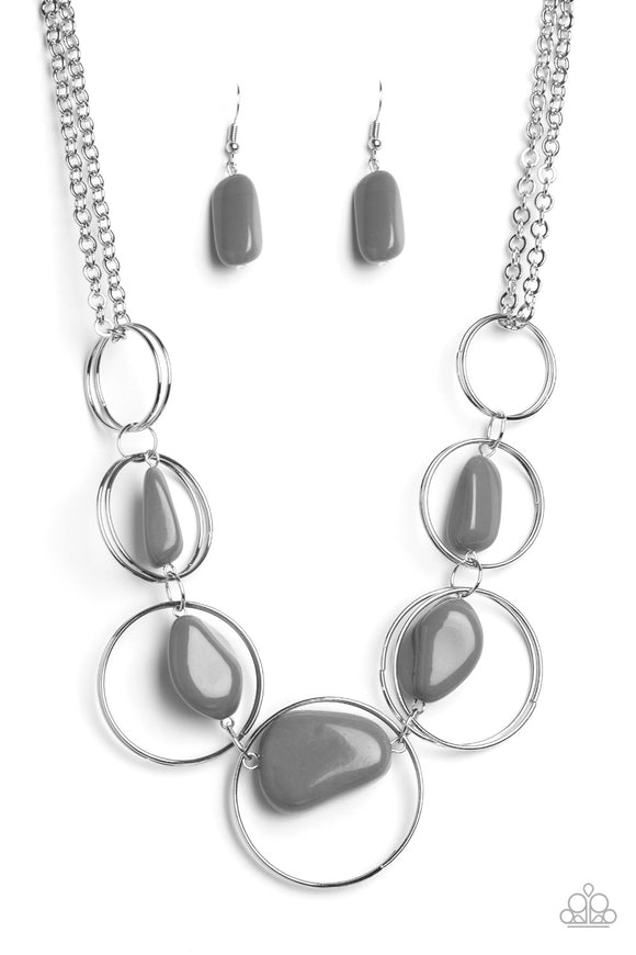 Paparazzi Travel Log Silver Rock Stone Necklace