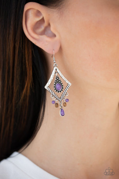 Paparazzi Southern Sunsets - Purple Bead - Wooden Accents - Silver Earrings