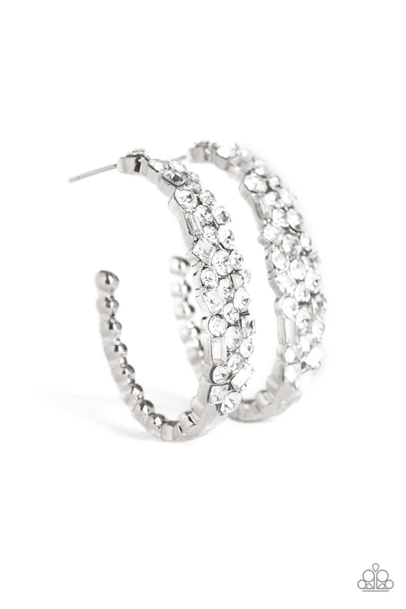 Paparazzi A GLITZY Conscience - White - Rhinestones - Silver Hoop Earrings