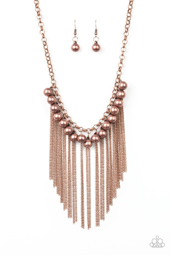 Paparazzi Powerhouse Prowl - Copper Beads - Fringe Necklace and matching Earrings