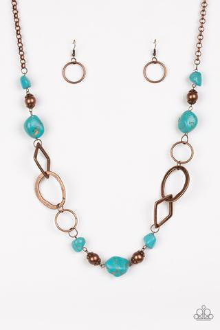 Paparazzi That's TERRA-ific! Copper Blue Necklace