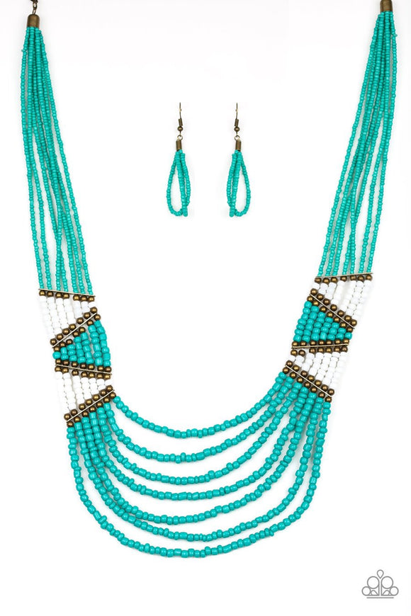 Paparazzi Kickin it Outback-blue Seed Bead Necklace
