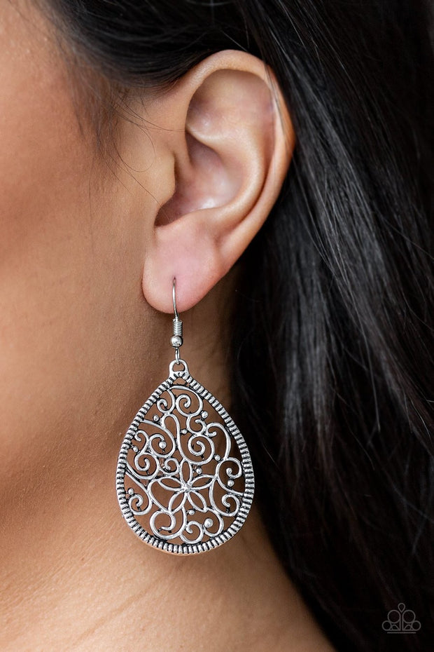 Paparazzi I'm Doing VINE - Silver - Filigree Silver Teardrop - Earrings - Glitzygals5dollarbling Paparazzi Boutique