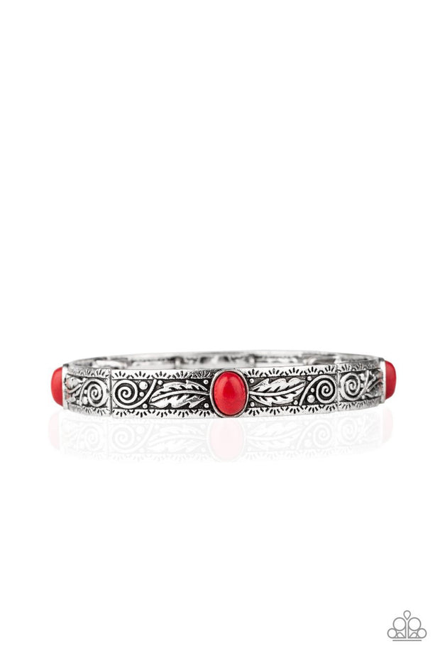 Paparazzi Wild West Story - Red Stones - Embossed Silver Feather Detail - Stretchy Band Bracelet