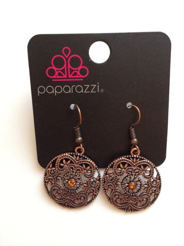 Paparazzi Rochester Royale - Copper - Rhinestone / Filigree Earrings - Life of the Party Reward Exclusive - Glitzygals5dollarbling Paparazzi Boutique