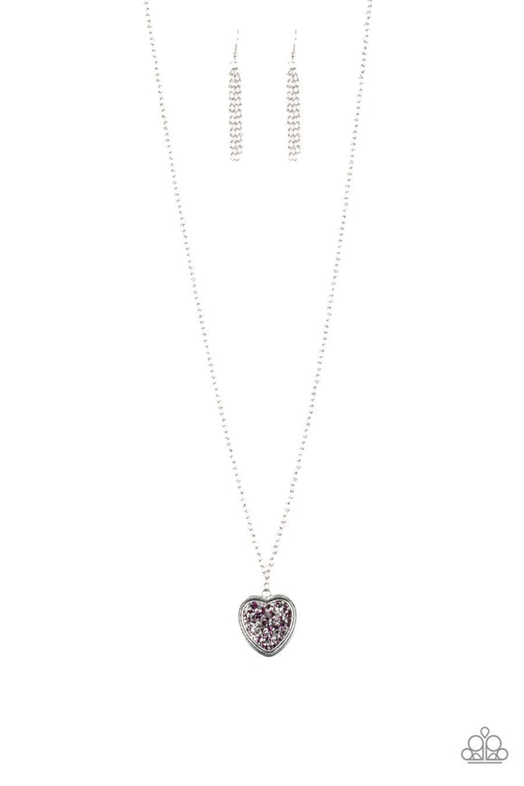 Paparazzi Heart of SPARKLE - Purple Rhinestone - Silver Chain Necklace and matching Earrings