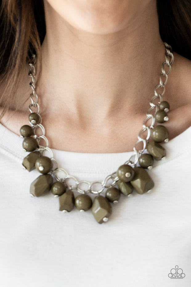Paparazzi Gorgeously Globetrotter - Green - Martini Olive Beads - Necklace & Earrings - Glitzygals5dollarbling Paparazzi Boutique