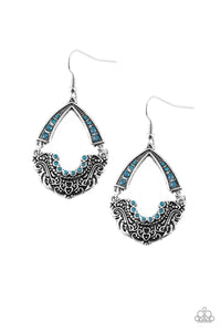 Paparazzi Royal Engagement - Blue Rhinestones - Silver Earrings