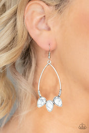 Paparazzi Fierce Frontier - White Stone - Silver Teardrop - Earrings