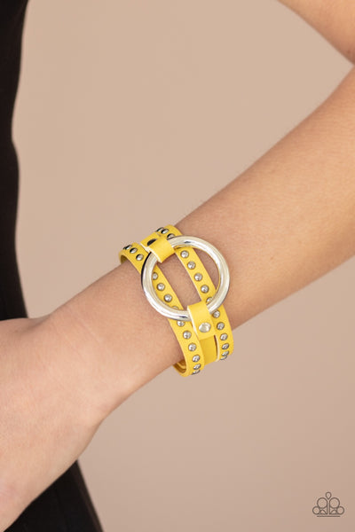PREORDER Paparazzi Studded Statement-Maker - Yellow Urban Bracelet - Glitzygals5dollarbling Paparazzi Boutique