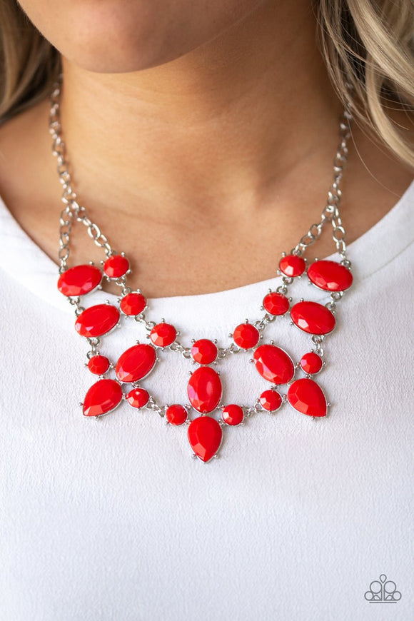 Paparazzi Goddess Glow - Red - Round, Oval and Teardrops - Necklace & Earrings